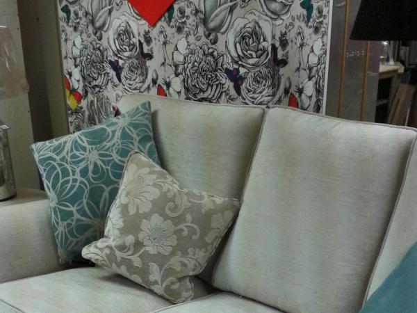 Interior sofa, patterned cushions